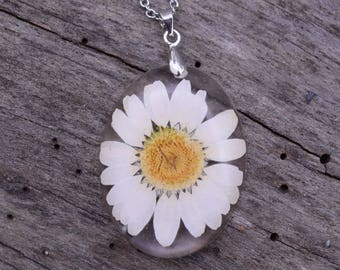 Real Flower Necklace / Real Daisy Pendant / Resin Flower Jewelry / Daisy Necklace / Pressed Flower Jewelry / Flower Resin Necklace