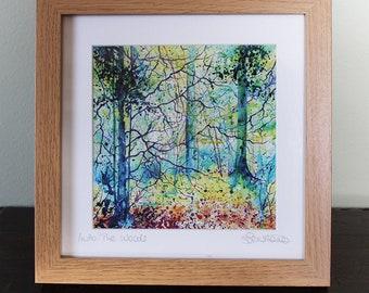 Framed print of trees, woodland print, autumn tree print, framed prints, forest print