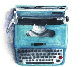 Blue Typewriter Watercolor Print 8 x 8