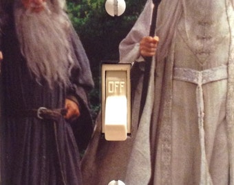 Lord of the Rings LOTR Saruman the White & Gandalf the Grey Light Switch Cover Bathroom Bedroom Mancave Dorm Kitchen FREE Shipping in the US