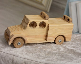 Wooden toy car Montessori eco-friendly toy for boys Kids educational toy of natural wood Organic learning toy ambulance Classic gift idea