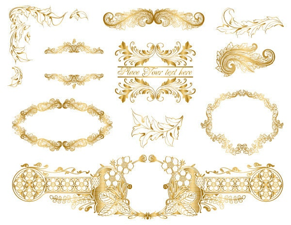 Instant Download Gold Frame Border Clip Art Golden Flourish