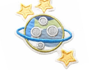 patch PLANET SATURN applique - Embroidered iron on patch on stitching felt, cotton fabric,embroidery thread,approx.9,5x10cm,grey/blue/yellow