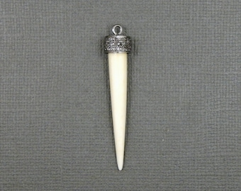 Pave Diamond Thin White Bone Spike Pendant set in an Gold Over Sterling Silver with Pave Diamond Cap (EX25-19)