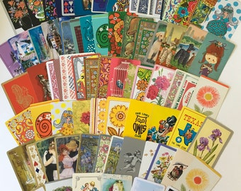 Swap Cards / 75 Vintage Playing Cards Mixed Ephemera for Collage, Altered Art, Scrapbooking, Journals / Assorted Playing Card Lot