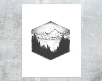 Glacier National Park Print - Hexagon