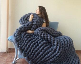 Chunky knit blanket 18 microns, Chunky Blanket, Merino Wool Blanket, Hand Knitted Blanket,Bulky Blanket, Large Blanket, Arm knitted Blanket