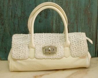 SALE Vintage Guipur lace handbag