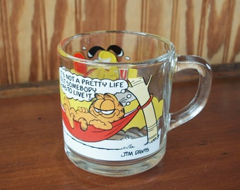 McDonald's Vintage 1978 GARFIELD & ODIE Glass Coffee Cup Mug by Jim Davis – Made in USA