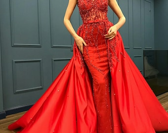 Luxury red mermaid overskirt beaded couture dress