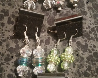 Glass Bead, Mixed Media Earrings - Pick Your Color
