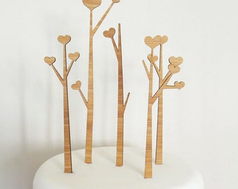Heart Trees Cake Topper Set. Heart Tree. Wedding Cake Topper. Cake Topper. Rustic Cake Topper. Wood Cake Topper. Wedding Cake Ornament.