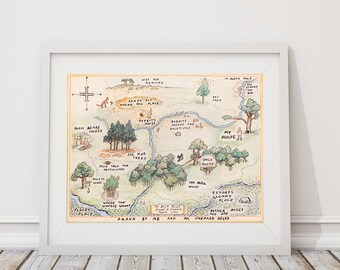 100 Acre Wood Map Sign. Classic Winnie the Pooh Nursery. Winnie the Pooh Baby. Wall Art. Wall Decor. Boy Nursery Art. Girl Nursery Art. S481