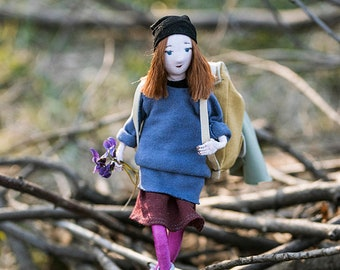 Frida - ooak unique  textile doll