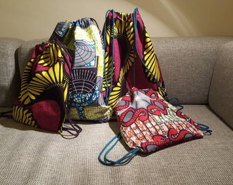 Drawstring backpack in African wax