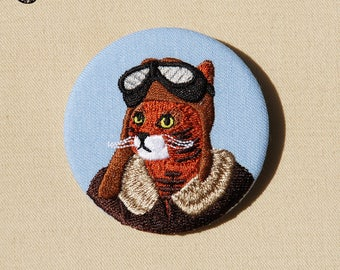 Large embroidered brooch, Harold cat
