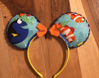 Finding Dory Ears, Custom Nemo Mickey Ears, Disney Inspired Minnie Ears