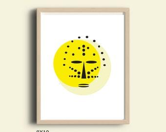 Yellow wall art, printable wall art, abstract African mask print, wall art print, pop art poster, modern art, instant download printable art
