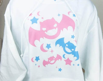 Kawaii Fairy Kei Pastel Goth Bats Womens Hoodie S Through 2XL