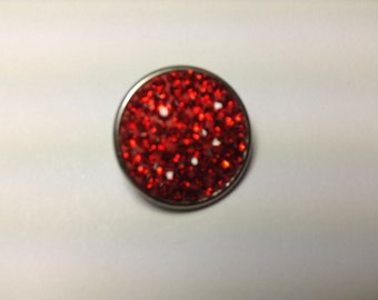 1- 18mm Red jeweled Snap Button