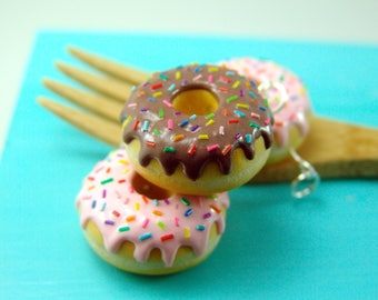 Donut with Rainbow Sprinkles // You Choose, Food Charm or Necklace // READY TO SHIP