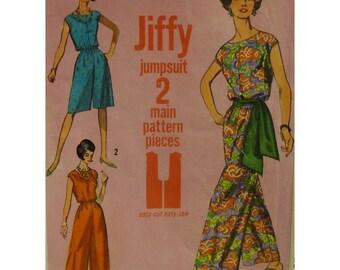 "1960s Jumpsuit Pattern, Palazzo Pants, Cap Seleeves, Bateau Neck, Casing Waistline, Sash, Simplicity No. 5930 Size Small (10-12) Bust 31 32"""