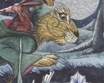 The Lunargorg... - Matlock the Hare - Whimsical magical moonlit signed archival art print.