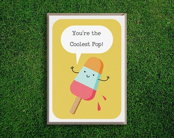 Greeting Cards | Coolest Pop Dad Card, Cute, Silly, Quirky, Adorable, Dorky, Father's day, Birthday Pun, Funny, Kids, Children