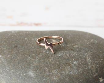Lightening bolt ring/ Rose Gold tone Stacking ring/ Lightning Weather Jewellery