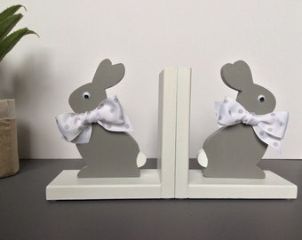 Bookends, Bunny Bookends, Rabbit Book Ends, Grey Bunny, Childs Birth, Gray rabbit, hand cut and painted in USA.. 8 anti skid discs attached.
