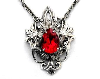 Gothic Red Necklace  Red Swarovski Crystal Necklace Red Wedding Jewelry Red Bridal Necklace Gothic Jewelry Gothic Necklace