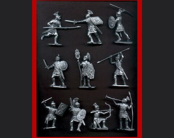 Reamsa Roman Infantry, 10 Toy Soldiers in Silver Plastic 60mm - New - Mint