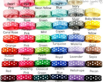 3/8 inch Swiss Dot Ribbon - Polka Dot Ribbon, Ribbon for Bows, Hair Bow, Grosgrain Ribbon by the Yard, Ribbon Hair Bows, Grosgrain Bows
