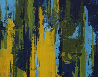 """Original Abstract Painting -- Light on Water III -- 4 x 4"""""""