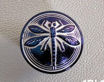 CZECH GLASS BUTTON: 18mm Dragonfly Handpainted Czech Button, Pendant, Cabochon (1)