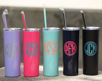 Skinny Steel Monogram Cup - Personalized Tumbler - Stainless Steel Skinny Tumbler Gift - Gift for Friend - Bridesmaid Gift - Monogram Bottle