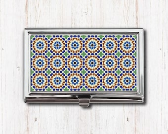 Moroccan Business Card Case, Business Card Holder, Morocco Moorish Marrakesh, Card Case, Card Holder, Blue Green Brown, Metal Card Case