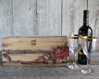 Wooden Wine box, Rustic wine box, Wedding wine box ceremony, Custom wine box, First fight box, Anniversary gift, Time capsule, Shower gift