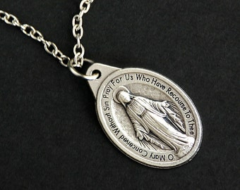 Miraculous Medal Necklace. Christian Necklace. Miraculous Medal Necklace. Catholic Charm Necklace. Christian Jewelry. Religious Necklace.