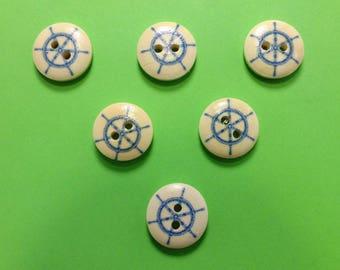 SET of 6 wood buttons: round theme Starfish motif bar 15mm (01)