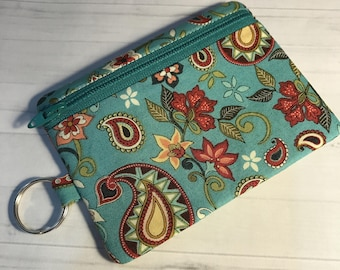 Zipper Coin Card Holder Mini Wallet Pouch Turquoise Floral