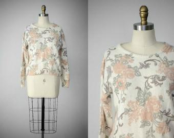 angora sweater | silk sweater | rose patterned sweater | fuzzy sweater | white angora sweater | white silk sweater