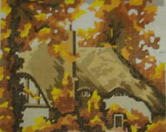 Autumn Tones Thatched Cottage Tapestry Needlepoint Canvas