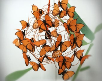 Chandelier with orange butterflies,special gift for kids Handmade shadow lamp Butterfly  Fairy Pendant Lighting Fixture