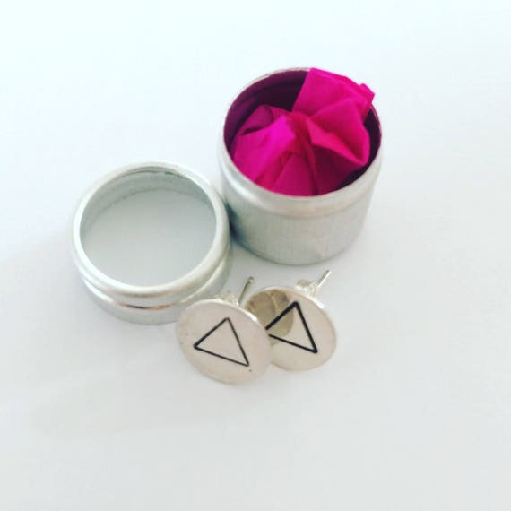 Simple Triangle Studs in Sterling Silver - Geometric - Modern -