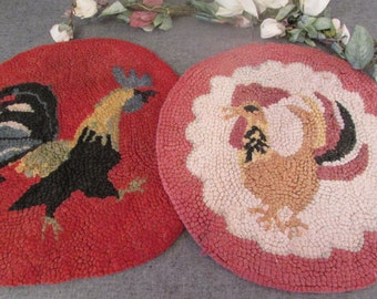 Round Hooked Rug Chair Pad Red and Pink Chicken Design