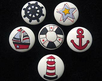 Set of 6 - SAIL AWAY - NAUTiCAL DESIGN - Boat, Lighthouse, Anchor, etc. - Hand Painted Wooden Knobs ~ Great for Boy's/Girl's Room, Nursery