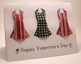 CLEARANCE Mini Origami Dress Card (Valentine, red stripe black dots)