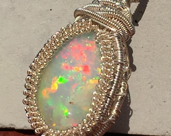 Ethiopian welo opal wire wrapped pendant, wire wrapped opal, Ethiopian opal wire wrap, Ethiopian opal pendant, Ethiopian opal necklace