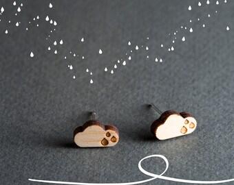 Rain Cloud Earrings, Rain Drop Earrings, Small Stud Earrings Wood